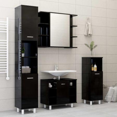 shumee Szafka łazienkowa, wysoki połysk, czarna, 30x30x179 cm, płyta