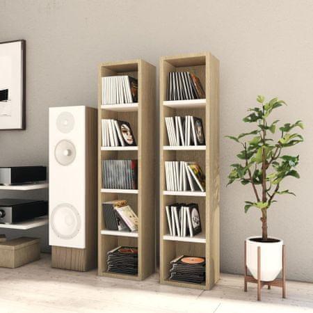 shumee 2 db fehér és sonoma-tölgy forgácslap CD-szekrény 21x16x93,5 cm