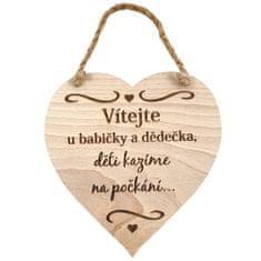 AMADEA Dřevěné srdce s textem Vítejte u babičky a dědečka, děti.., masivní dřevo, 16 x 15 cm