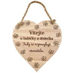 AMADEA Dřevěné srdce s nápisem Vítejte u babičky a dědečka, tady.. , masivní dřevo, 16 x 15 cm