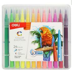 Deli stationery Fixy štětečkové 24 barev