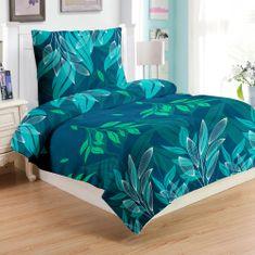 Jahu Green leafs posteljina, mikro pliš, 70 x 90/140 x 200