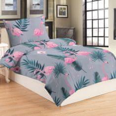 Jahu Flamingo grey posteljina, mikro pliš, 70 x 90/140 x 200