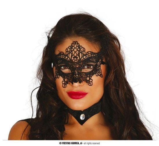 Škraboška - maska černá vyšívaná - Ples - Karneval