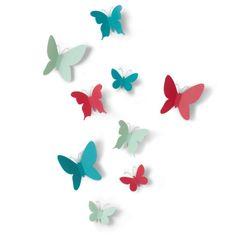 shumee Dekorácia na stenu, farebná, mariposa
