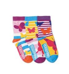 United Odd Socks Detské veselé ponožky Butterfly 3ks veľ.: 27-30