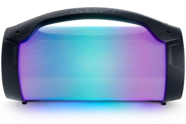 párty Bluetooth reproduktor bigben partybtlite aux in sd karty usb port zabudovaná světla vstup pro mikrofon mikrofon v balení madlo pro přenášení výdrž 3 h na nabití 1200mah baterie zabudované ovládání podsvícený displej