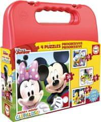 EDUCA Puzzle v kufříku Mickey Mouse (12, 16, 20, 25 dílků)