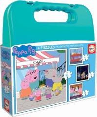 EDUCA Puzzle v kufríku Peppa Pig (6, 9, 12, 16 dielikov)