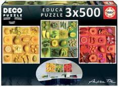 EDUCA Puzzle 3x500 dielikov - Deco: Exotické ovocie a kvety