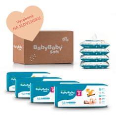 BabyBaby Soft MESAČNÉ BAL. MINI (224ks) + 4x vlhčené 100% bavlna