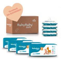 BabyBaby Soft MESAČNÉ BAL. MIDI (224ks) + 4x vlhčené 100% bavlna