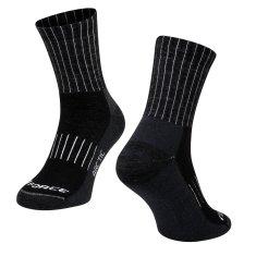 Force Zimní cyklistické ponožky ARCTIC s vlnou Merino - černé