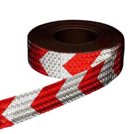 Kraftika Fényvisszaverő szalag, öntapadó, piros-fehér, 5 cm x 25 m