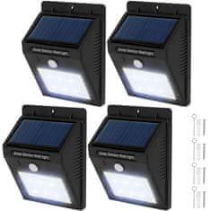 tectake 4 Vonkajšie nástenné svietidlá LED integrovaný solárny panel a detektor pohybu - černá