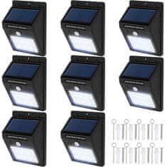 tectake 8 Vonkajších nástenných svietidiel LED integrovaný solárny panel a detektor pohybu - černá