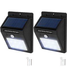 tectake 2 Vonkajšie nástenné svietidlá LED integrovaný solárny panel a detektor pohybu - černá