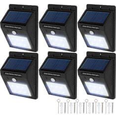 tectake 6 Venkovních nástěnných svítidel LED integrovaný solární panel a detektor pohybu - černá