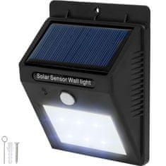 tectake Venkovní nástěnné svítidlo LED integrovaný solární panel a detektor pohybu - černá