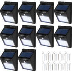 tectake 10 Vonkajších nástenných svietidiel LED integrovaný solárny panel a detektor pohybu - černá