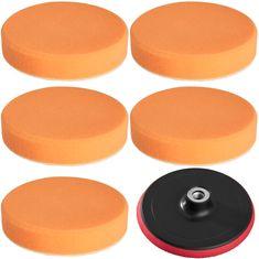 tectake Leštící sada 6 dílů finišovací kotouče unášecí 150mm - oranžová