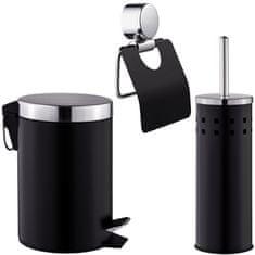 tectake Set držák na toaletní papír WC štětka odpadkový koš do koupelny - černá