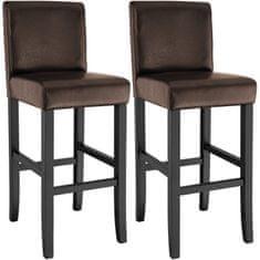 tectake 2 Barové stoličky drevené - hnědá