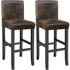 tectake 2 Barové stoličky drevené - vintage hnědá