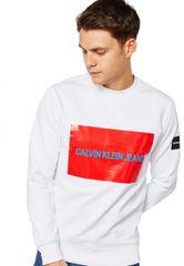 Calvin Klein Pánská mikina Calvin Klein bez kapuce bílá - M