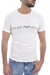 Emporio Armani Pánské bílé stylové tričko Emporio Amani s logem - XL