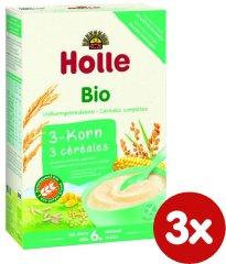 Holle Bio 3 druhy zrna, bezmliečna kaša - 3 x 250g