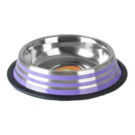 Kraftika Csúszásmentes alap tál színes csíkokkal, 470 ml, lila