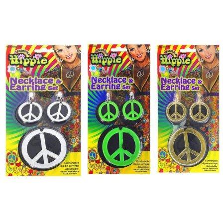 Kraftika Karnawał zestaw 2 sztuk: peace kolczyki naszyjnik mix