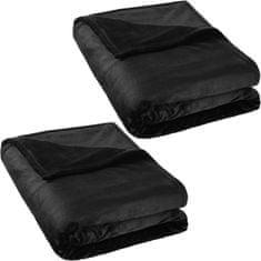 tectake 2 Hřejivé deky mikroplyš 220x240cm - černá