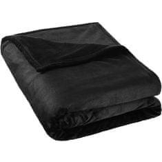 tectake Hřejivá deka mikroplyš - černá, 220 x 240 cm