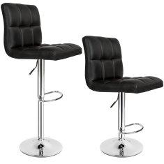 tectake 2 Barové stoličky Tony - černá