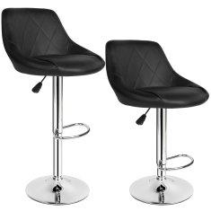 tectake 2 Barové stoličky Waldemar - černá