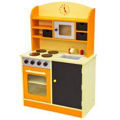 tectake Dětská dřevěná kuchyňka - oranžová