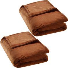 tectake 2 Hřejivé deky mikroplyš 220x240cm - hnědá
