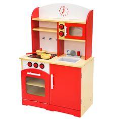 tectake Dětská dřevěná kuchyňka - červená