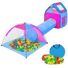 tectake Dětský stanový set se spojovacím tunelem s 200 míčky - modrá