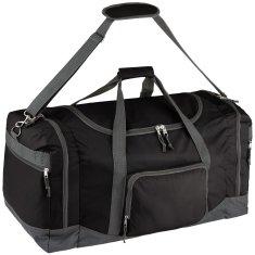 tectake Cestovní taška 90 litrů s ramenním popruhem - černá