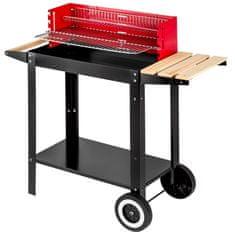 tectake Grilovací vozík na dřevěné uhlí - černá/červená