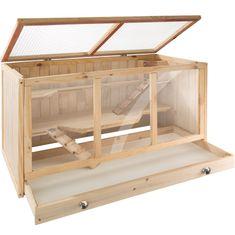 tectake Klec pro hlodavce dřevěná 95x50x50cm - hnědá