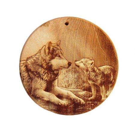 """Kraftika Tábla cédrus tömb """"farkasok,"""" kerek, 18 × 18 cm"""