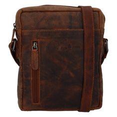 Green Wood Moderní pánská kožená taška Joel Jean, hnědá