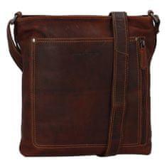 Green Wood Moderní pánská kožená crossbody taška Entonio Eldorado, hnědá