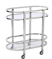 Artelore Oválný barový vozík MENPHIS stříbrný 80 x 44 x 80 cm
