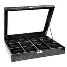 Balmuir Elegantní kožená krabice na 12 hodinek PARK LANE, černá