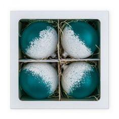 Nastrom Sada 4 ks sklenených vianočných ozdôb Ľadová cukráreň - guľa s posypom, modrá, 10 cm